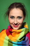 Girl in a colorful scarf Stock Photo
