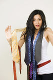 Girl with colorful ties Royalty Free Stock Images