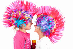 Girl with a colorful wig Stock Photos