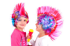 Girl with a colorful wig Royalty Free Stock Image