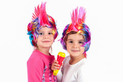 Girl with a colorful wig Stock Photography
