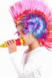 Girl with a colorful wig Stock Image