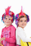 Girl with a colorful wig Stock Photo