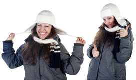Girl in  colorful winter scarf and hat Stock Photos