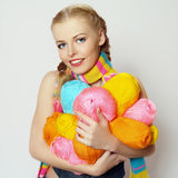 Girl with colorful yarn royalty free stock image