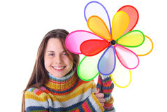 Girl with colorfull pinwheel Royalty Free Stock Image