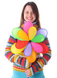 Girl with colorfull pinwheel Royalty Free Stock Photography