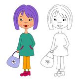 Girl - Coloring book Royalty Free Stock Images