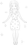 Girl coloring page Royalty Free Stock Photo