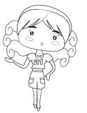 Girl coloring page Stock Image