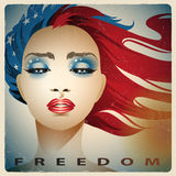 Girl with colors of the United States flag royalty free stock image