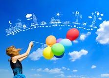 Girl with colour balloons Stock Photo