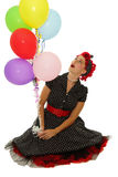 Girl with colour balloons Stock Photography