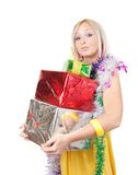 Girl  with  coloured New Year gifts Stock Photos