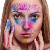 Girl with colours powder fashion make up on white background Stock Photography