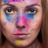 Girl with colours powder fashion make up Stock Photos