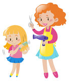 Girl combing hair and mother with blow dryer. Illustration Stock Images