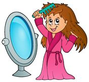 Girl combing hair theme 1 Royalty Free Stock Photo