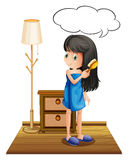 A girl combing her hair with an empty callout. Illustration of a girl combing her hair with an empty callout on a white background Royalty Free Stock Photos