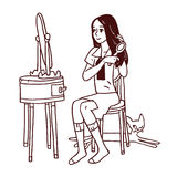 Girl combing her hair. Vector illustration of Girl combing her hair in front of the mirror Stock Photography