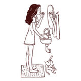 Girl combing her hair. Vector illustration of Girl combing her hair in front of the mirror Stock Photos