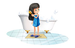 A girl combing her long black hair. Illustration of a girl combing her long black hair on a white background Stock Photo