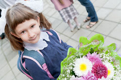 Girl come to school Royalty Free Stock Photography