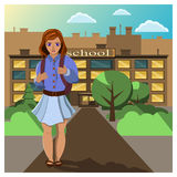 Girl comes home from school. Schoolgirl in a skirt with a backpack goes from school on a clear sunny day. Flat  illustration Royalty Free Stock Images