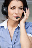Girl commentator with headset Stock Photo
