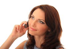 Girl communicates on a mobile telephone. Royalty Free Stock Photos