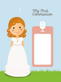 Girl communion with curly hair Royalty Free Stock Images