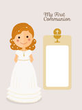 Girl communion with curly hair Stock Photos