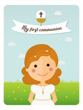 Girl communion with curly hair. My first communion reminder with curly hair girl and blue sky background Royalty Free Stock Photography