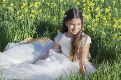 Girl with communion dress Royalty Free Stock Photos