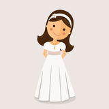 Girl with communion dress. On ocher background Stock Images