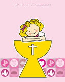 Girl Communion. Girl First Communion card. girl and chalice Stock Image