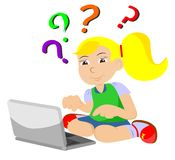 Girl with the comp  question Royalty Free Stock Image