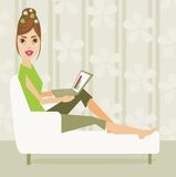 Girl with computer. Vector illustration of girl with computer Royalty Free Stock Images