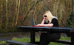 Girl on computer. View of a young woman outdoors on a laptop computer Royalty Free Stock Images