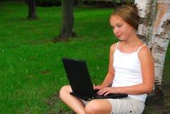 Girl computer Stock Photos