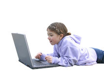 Girl on Computer 2 Royalty Free Stock Images