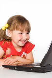 Girl with computer Royalty Free Stock Image