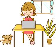 Girl and computer. This is an illustration of a girl and computer Royalty Free Stock Photography