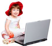 The girl and a computer Royalty Free Stock Image