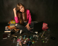 Girl with a computer royalty free stock photos