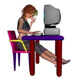 Girl at the Computer. Cartoon style digital render of a thoughtful girl sitting at her computer stock illustration