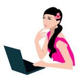 Girl and computer Stock Image