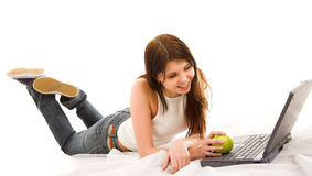 Girl with computer Royalty Free Stock Photo