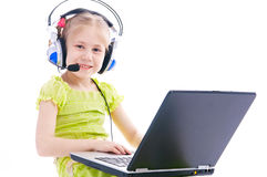 Girl with computer Royalty Free Stock Photography