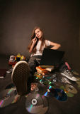 Girl with a computer Royalty Free Stock Photo